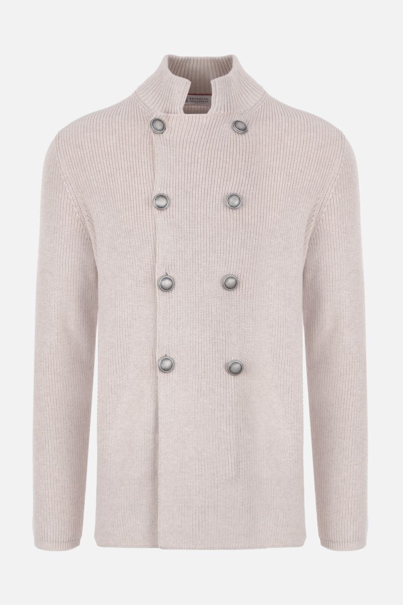 BRUNELLO CUCINELLI: double-breasted cotton knit cardigan Color Neutral_1