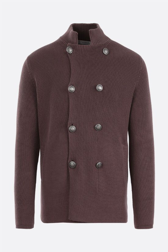 BRUNELLO CUCINELLI: double-breasted cotton knit cardigan Color Brown_1