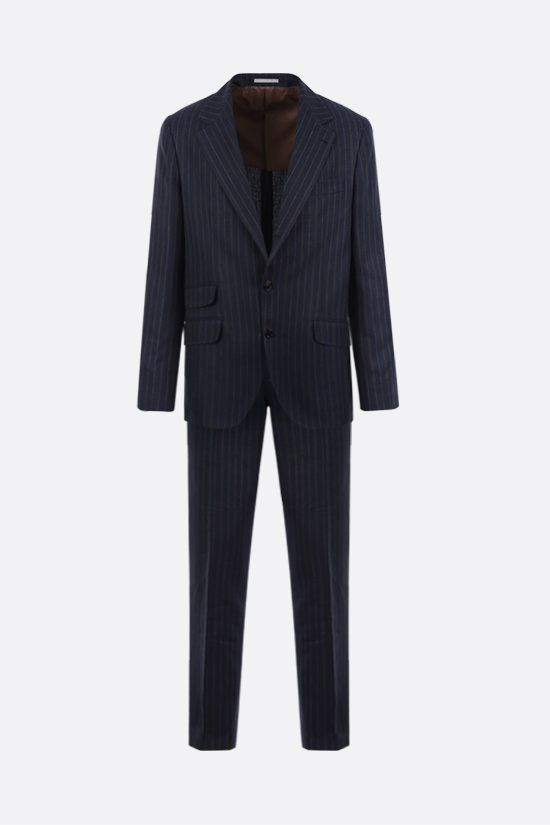 BRUNELLO CUCINELLI: pinstriped linen wool silk blend two-piece suit Color Blue_1