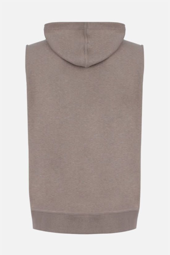 BRUNELLO CUCINELLI: full-zip cotton blend sleeveless hoodie Color Brown_2