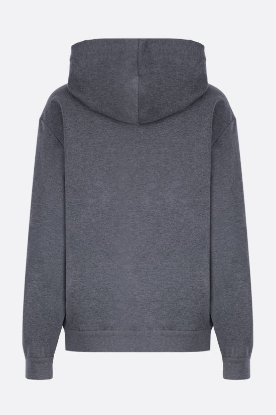 BRUNELLO CUCINELLI: monili-detailed full-zip jersey hoodie Color Grey_2