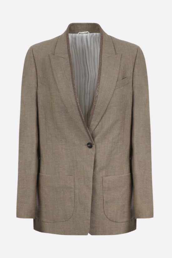 BRUNELLO CUCINELLI: monili-detailed wool linen blend single-breasted jacket Color Brown_1