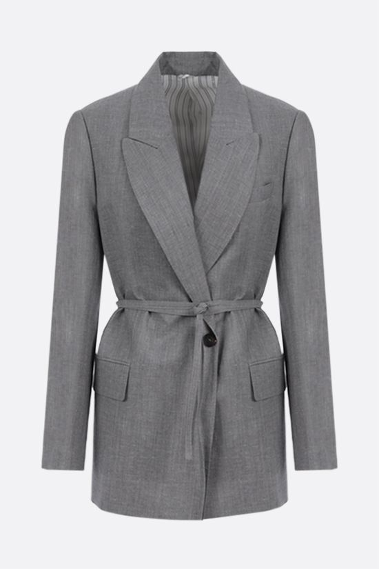 BRUNELLO CUCINELLI: double-breasted wool linen blend jacket with belt Color Grey_1