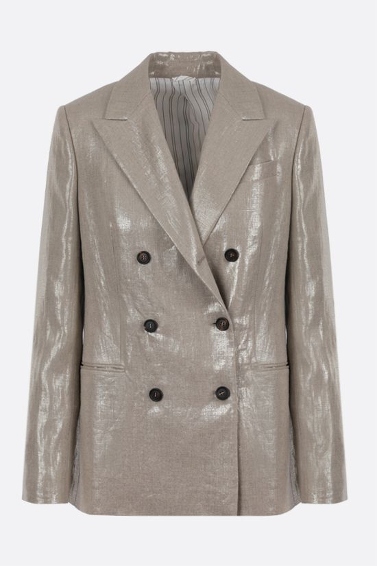 BRUNELLO CUCINELLI: double-breasted linen lurex blend jacket Color Gold_1