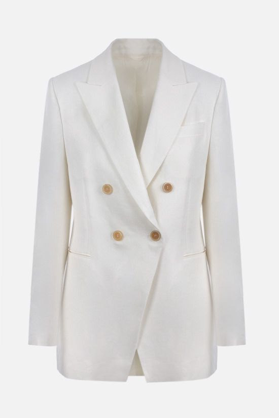 BRUNELLO CUCINELLI: double-breasted linen jacket Color White_1