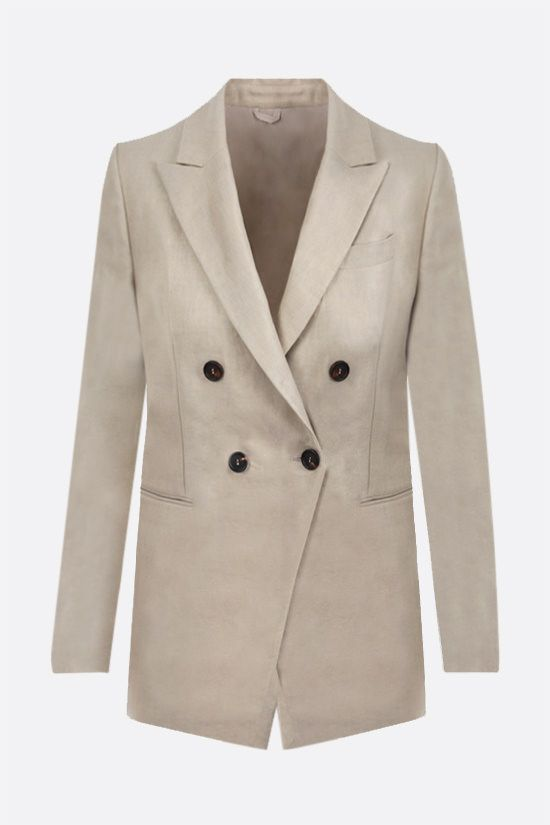 BRUNELLO CUCINELLI: double-breasted linen jacket Color Neutral_1