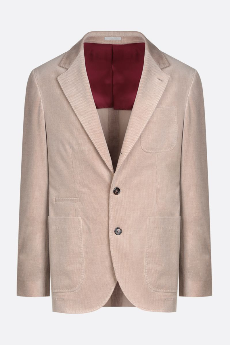 BRUNELLO CUCINELLI: single-breasted corduroy jacket Color Brown_1
