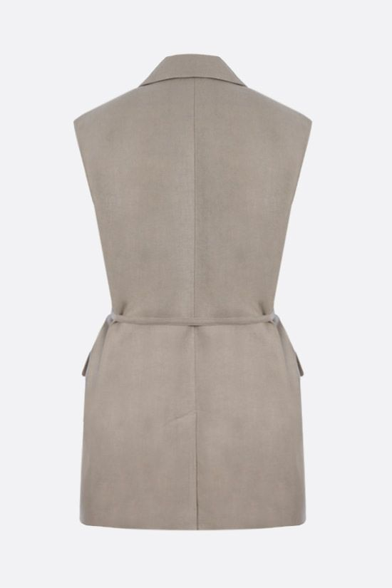 BRUNELLO CUCINELLI: double-breasted linen waistcoat Color Neutral_2