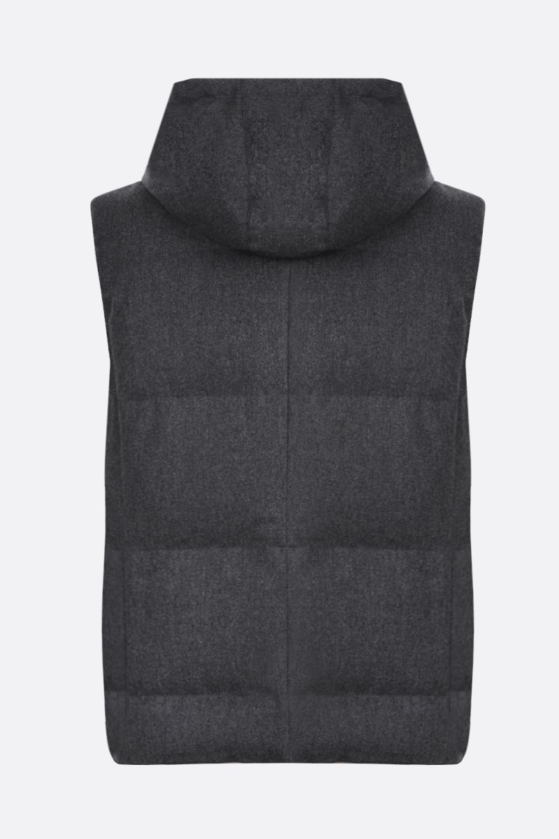 BRUNELLO CUCINELLI: wool, silk and cashmere sleeveless down jacket Color Grey_2
