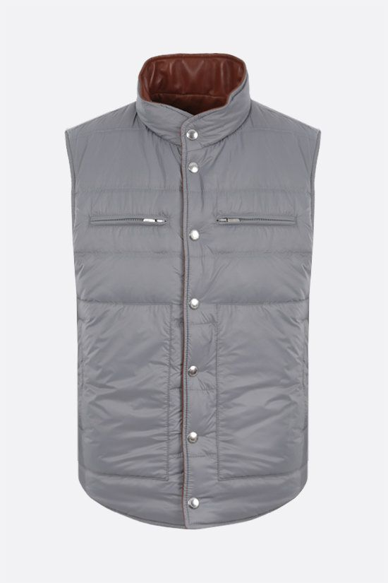 BRUNELLO CUCINELLI: reversible don-padded vest in leather and nylon Color Neutral_2