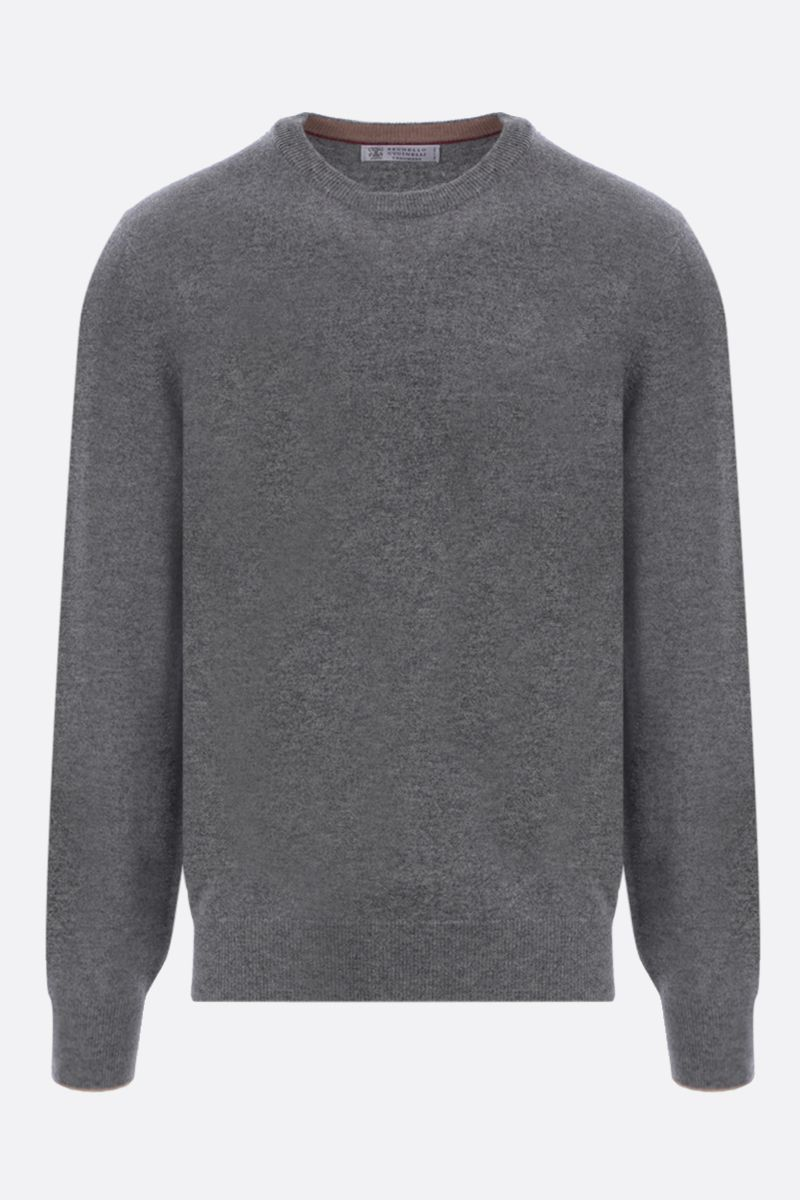 BRUNELLO CUCINELLI: pure cashmere pullover Color Grey_1