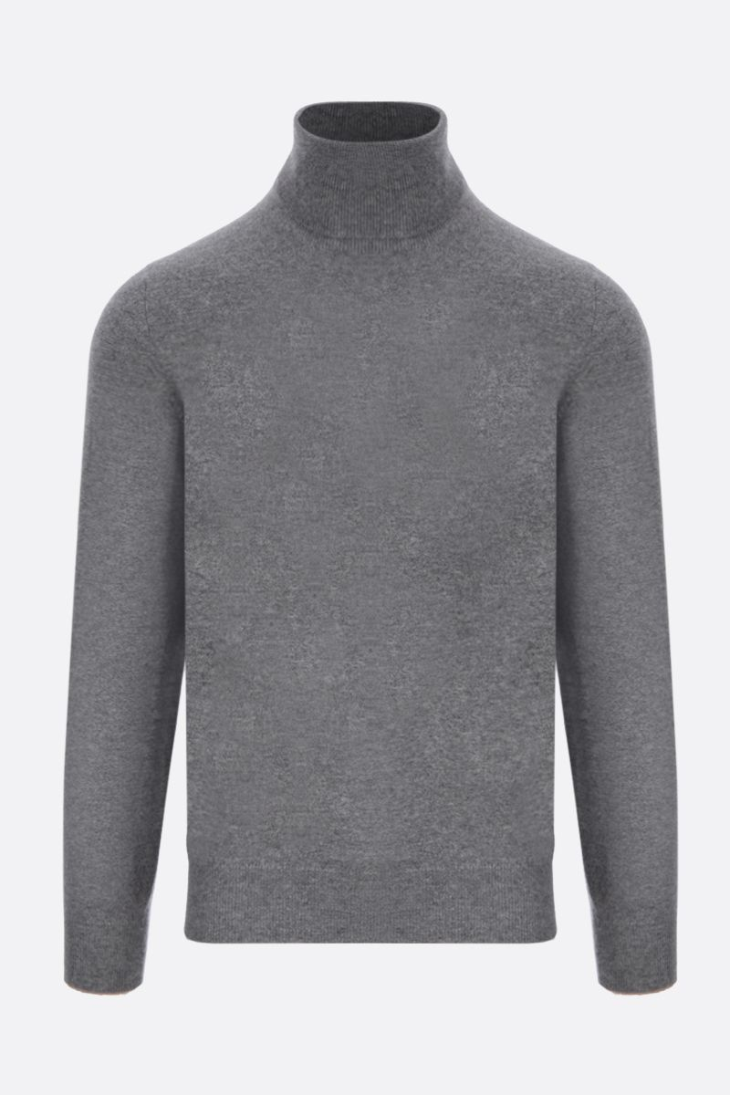BRUNELLO CUCINELLI: pure cashmere turtleneck Color Grey_1