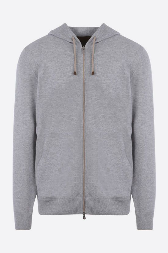 BRUNELLO CUCINELLI: pure cashmere full-zip pullover Color Grey_1