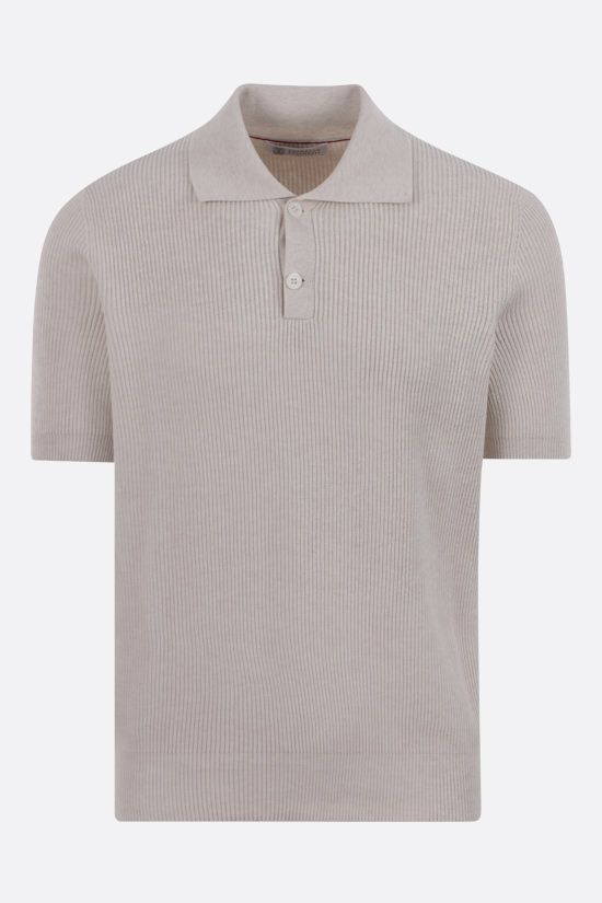 BRUNELLO CUCINELLI: ribbed cotton short-sleeved pullover Color Brown_1