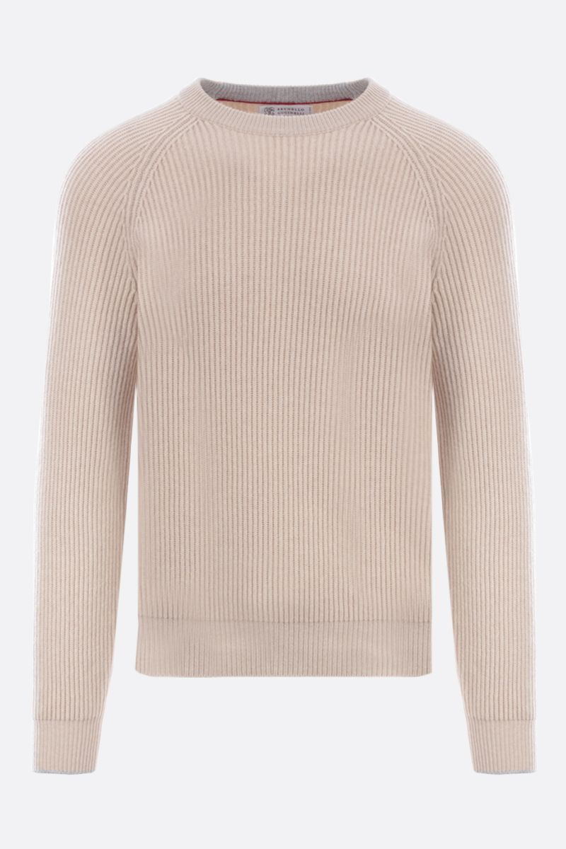 BRUNELLO CUCINELLI: wool cashmere silk blend pullover Color Neutral_1