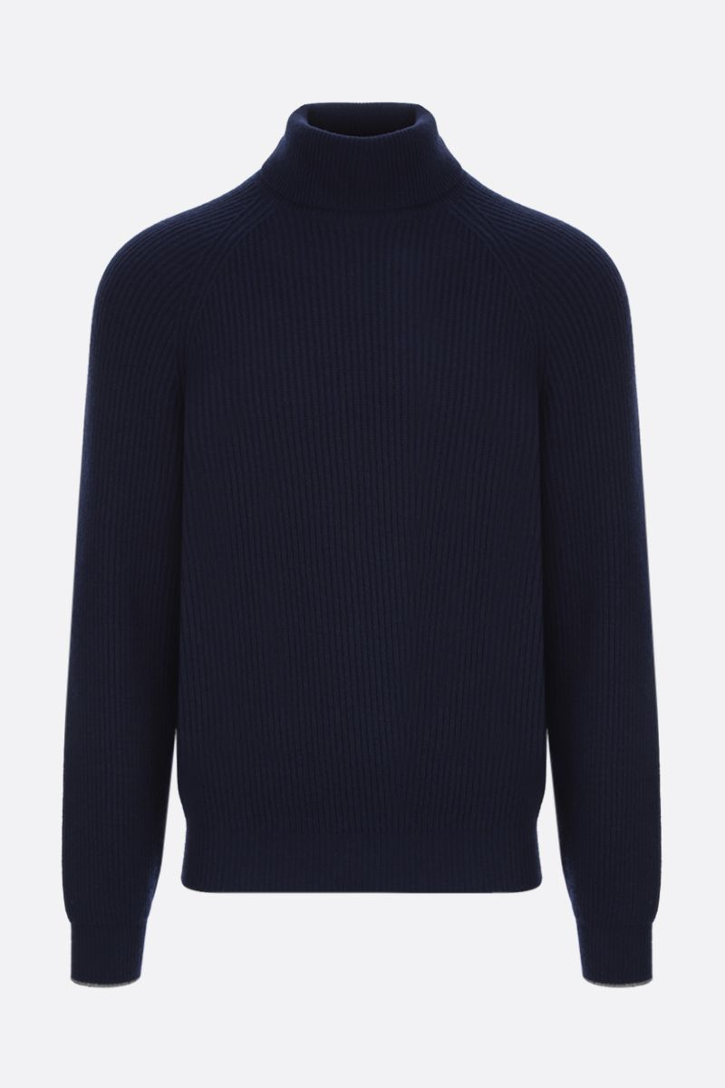 BRUNELLO CUCINELLI: ribbed wool cashmere silk blend turtleneck_1