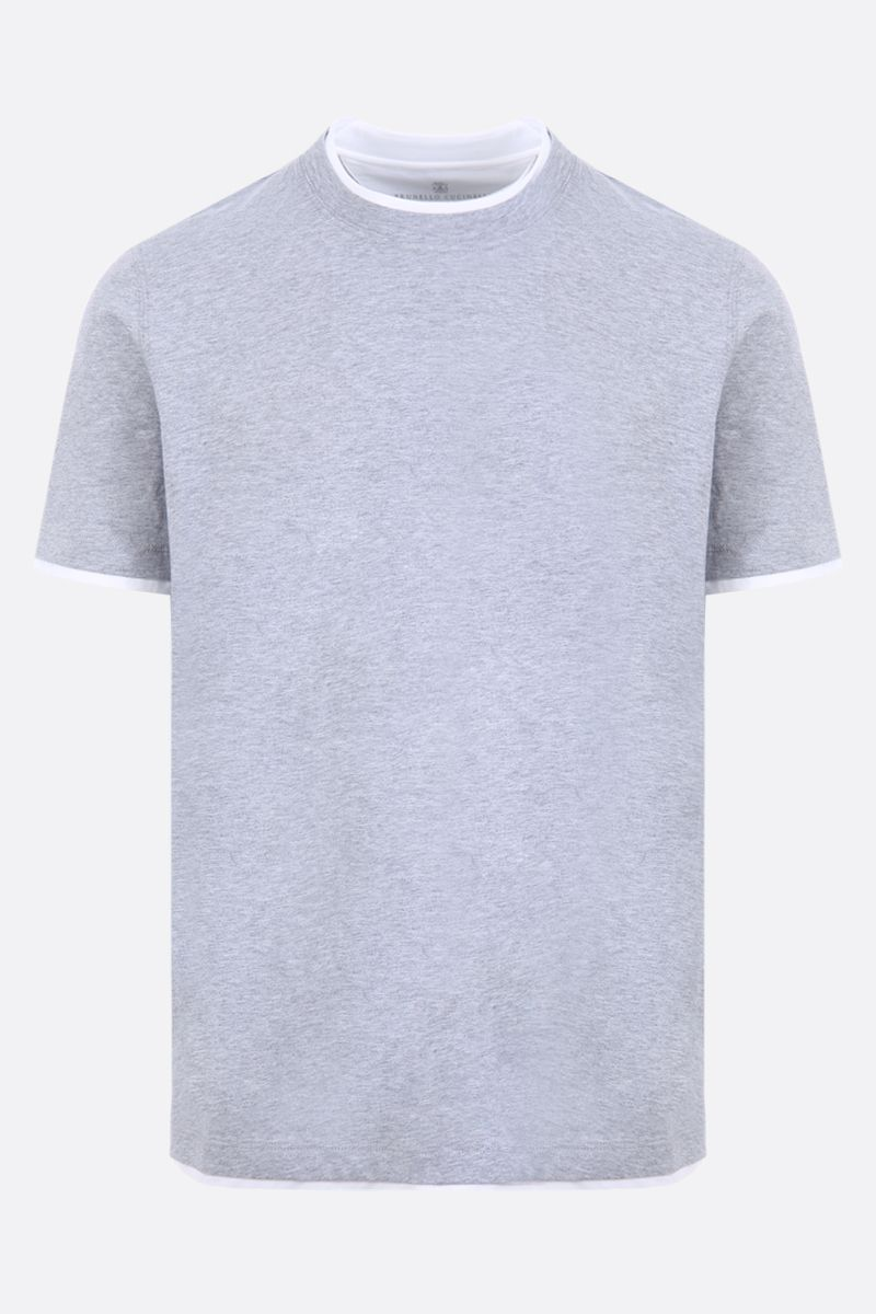 BRUNELLO CUCINELLI: cotton t-shirt with double-layer Color Grey_1