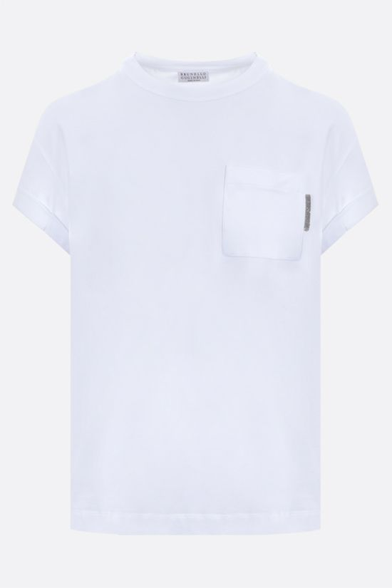 BRUNELLO CUCINELLI: monili-detailed stretch cotton t-shirt Color White_1