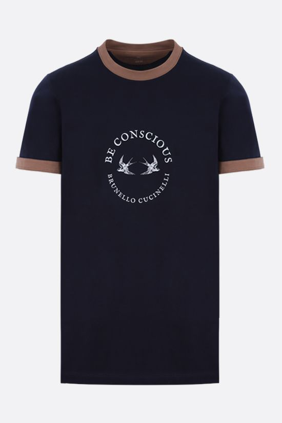 BRUNELLO CUCINELLI: Be Conscious print cotton t-shirt Color Blue_1