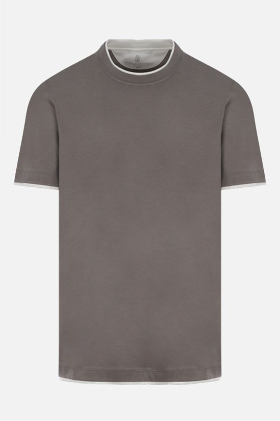 BRUNELLO CUCINELLI: t-shirt slim-fit in cotone Colore Marrone_1