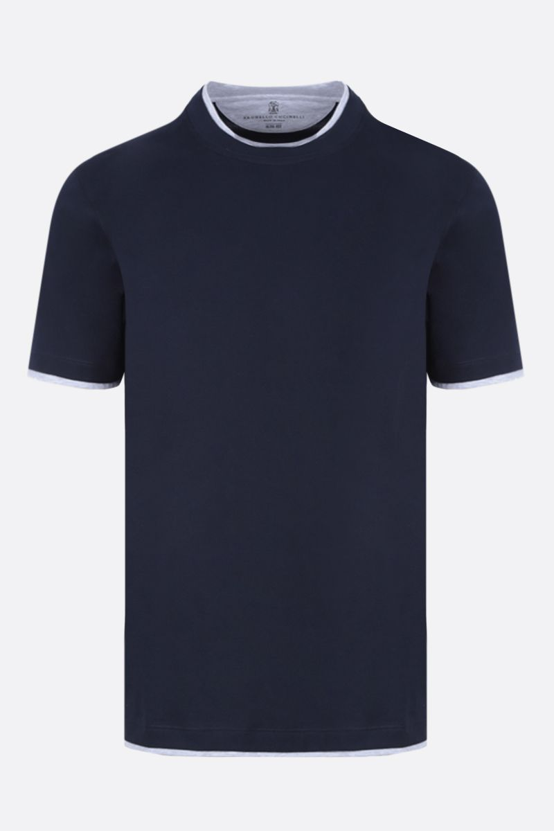 BRUNELLO CUCINELLI: slim-fit cotton t-shirt Color Blue_1