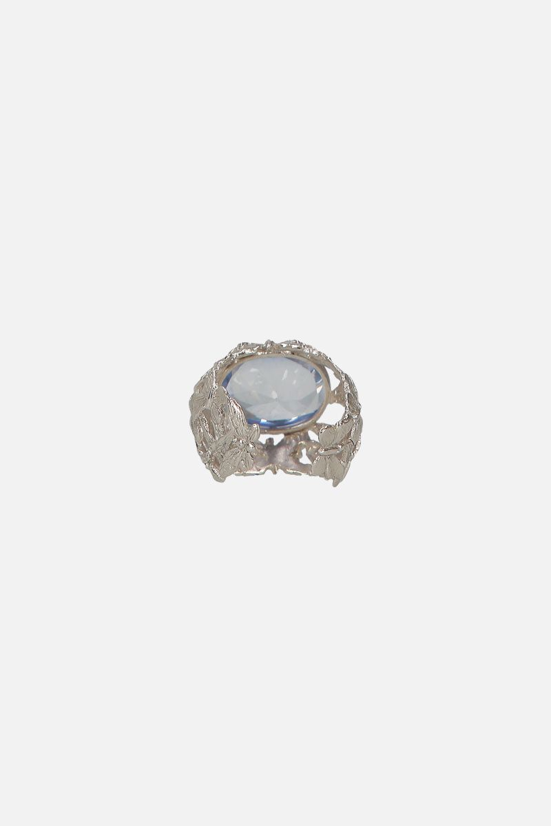 BERNARD DELETTREZ: silver dome ring with butteflies and zirconia Color Silver_2
