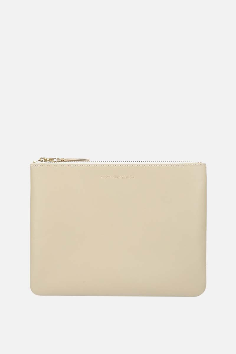 COMME des GARCONS WALLET: smooth leather large pouch Color White_1