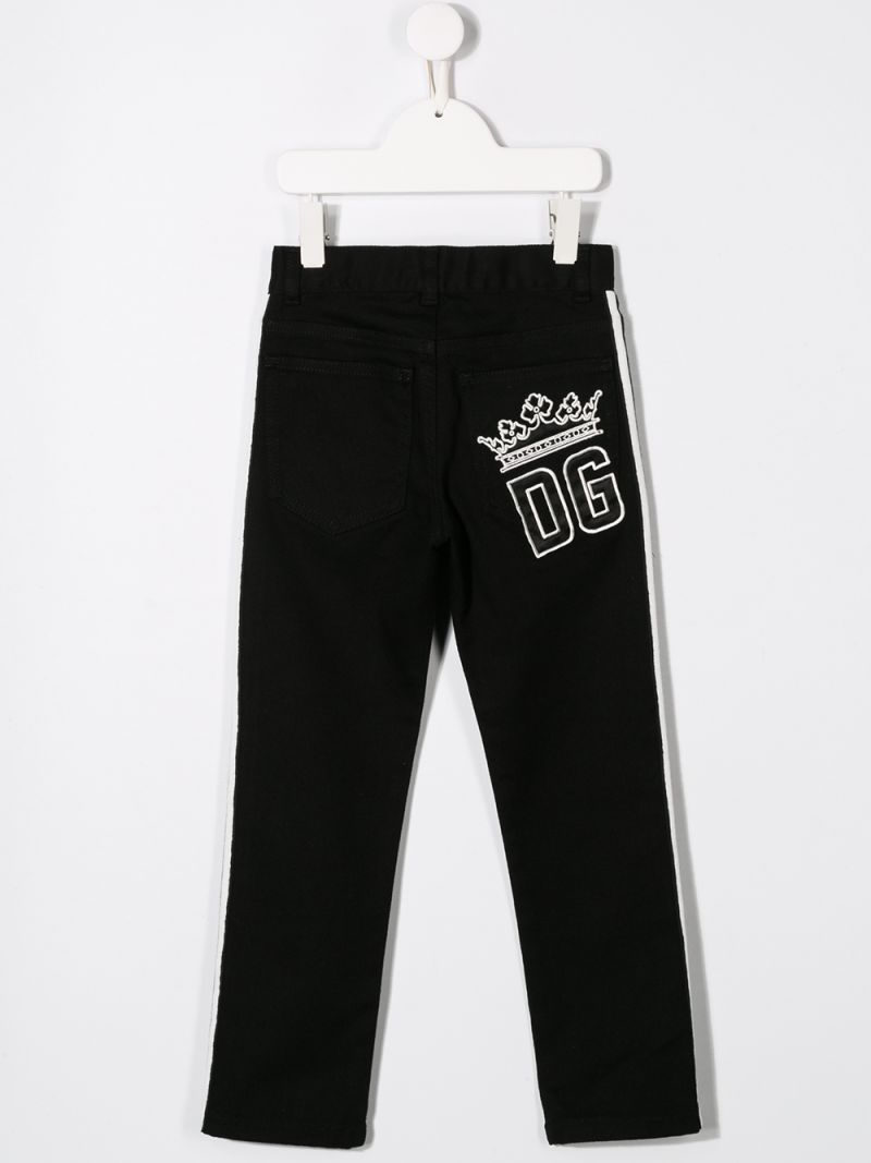 DOLCE & GABBANA CHILDREN: regular-fit jeans with logo embroidery Color Black_2