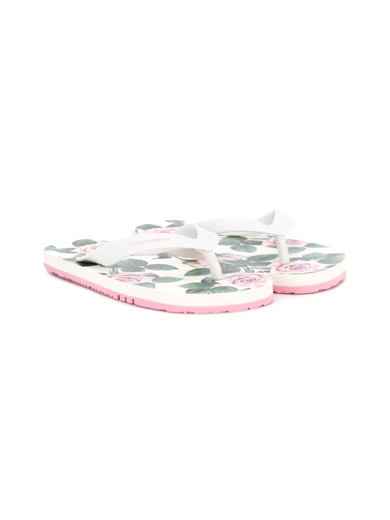 DOLCE & GABBANA CHILDREN: Tropical Rose print rubber flip flops_1