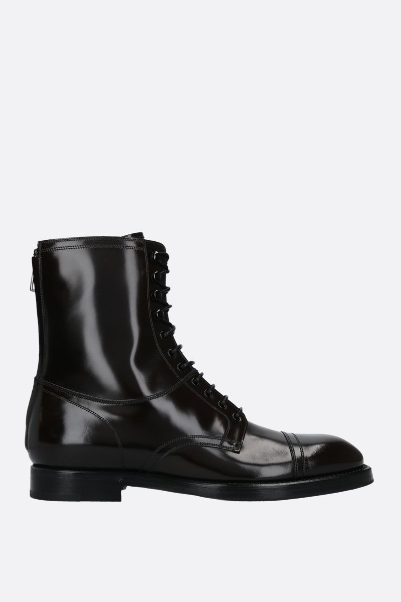 DOLCE & GABBANA: Michelangelo shiny leather combat boots Color Brown_1