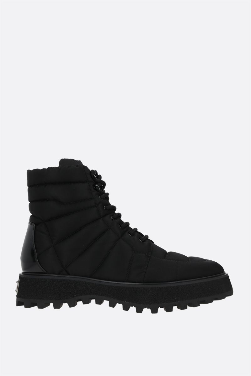 DOLCE & GABBANA: Michelangelo quilted nylon combat boots Color Black_1