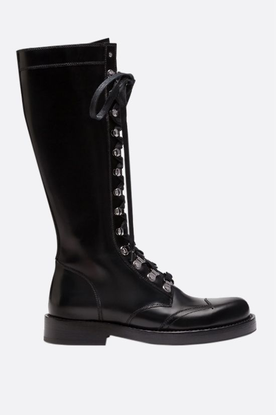 DOLCE & GABBANA: Bernini smooth leather combat boots Color Black_1