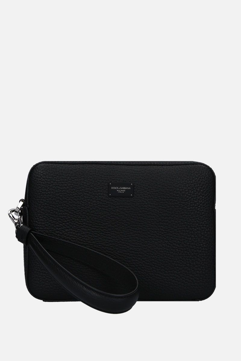 DOLCE & GABBANA: grainy leather clutch Color Black_1