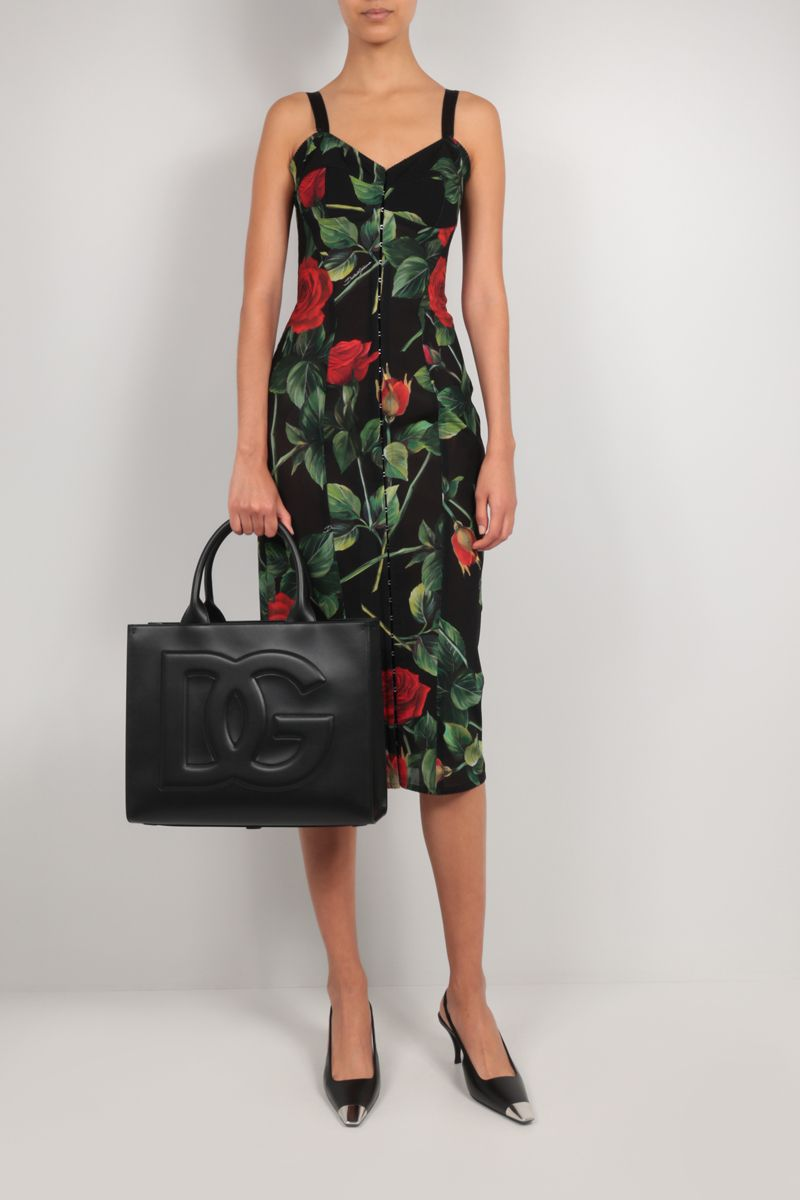 DOLCE & GABBANA: Beatrice small smooth leather tote bag Color Black_2