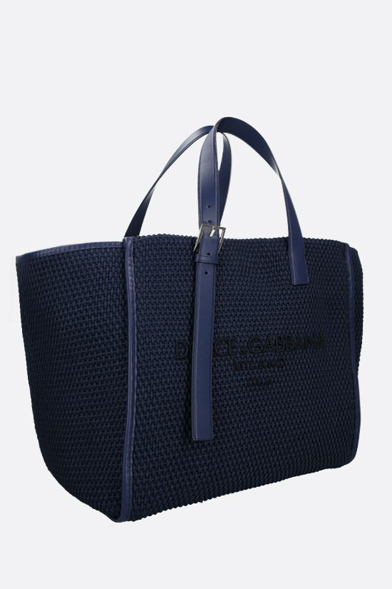 DOLCE & GABBANA: logo embroidered braided rope tote bag Color Blue_2