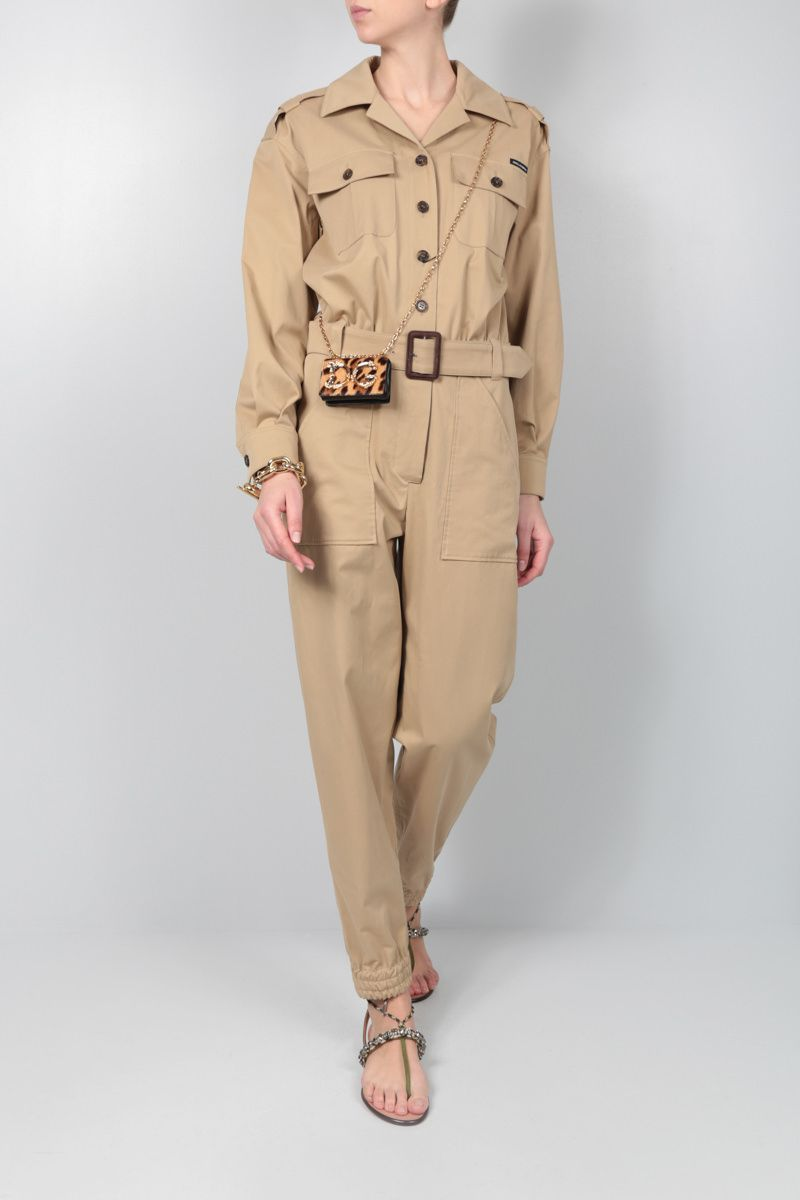 DOLCE & GABBANA: stretch cotton safari jumpsuit Color Brown_2