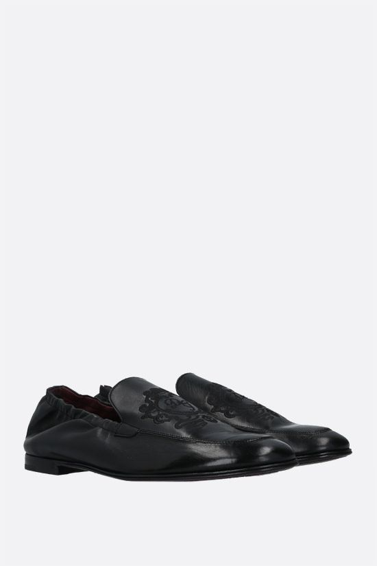 DOLCE & GABBANA: Plume smooth leather slippers Color Black_2