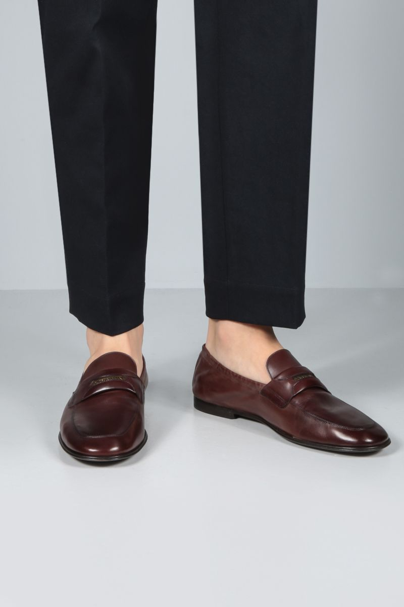 DOLCE & GABBANA: Plume smooth leather loafers Color Brown_2