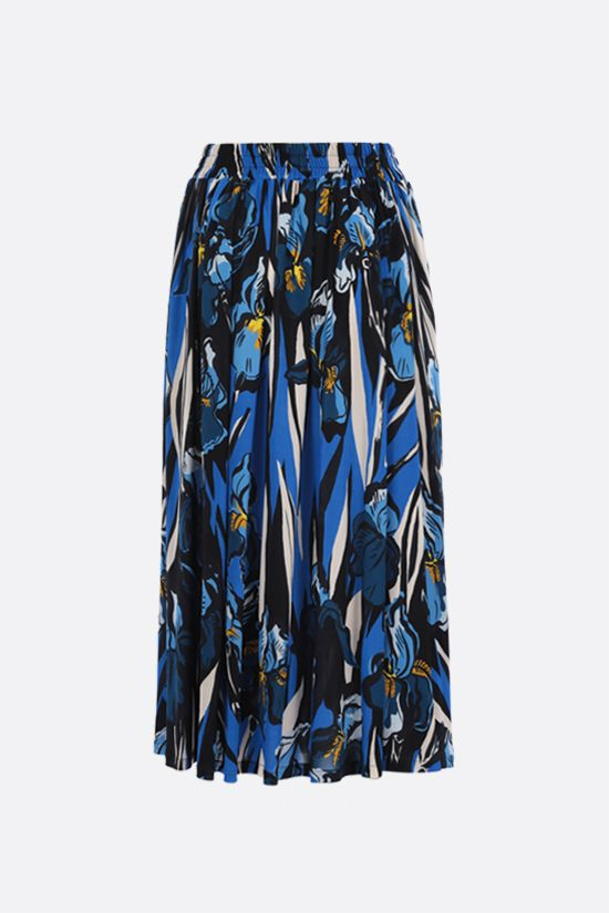 LA DOUBLE J: Simple crepe jersey midi skirt Color Blue_1