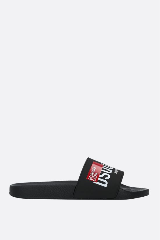 DSQUARED2: Dsquared2 print rubber slide sandals Color Black_1
