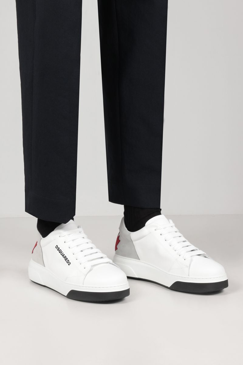 DSQUARED2: Bumper smooth leather and nabuk sneakers Color White_2