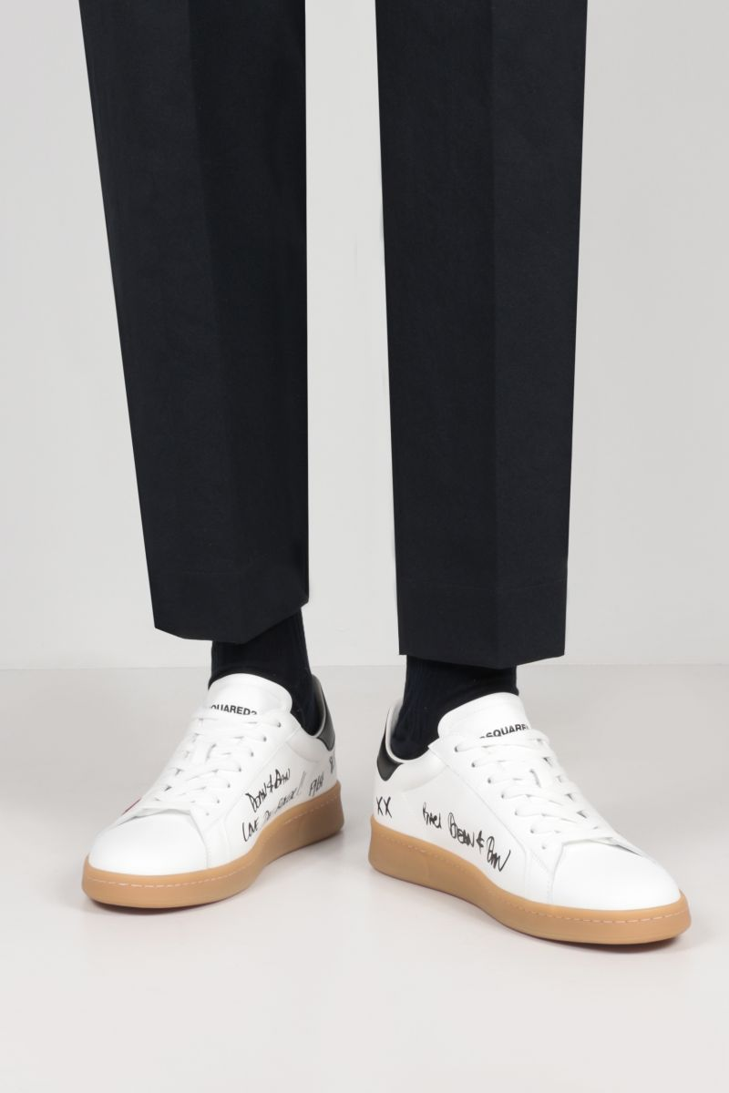 DSQUARED2: Boxer smooth leather sneakers Color White_2