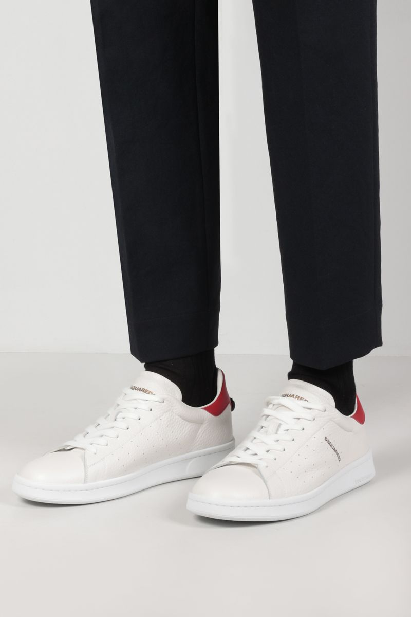 DSQUARED2: Dsquared2 Boxer grainy leather sneakers Color White_2