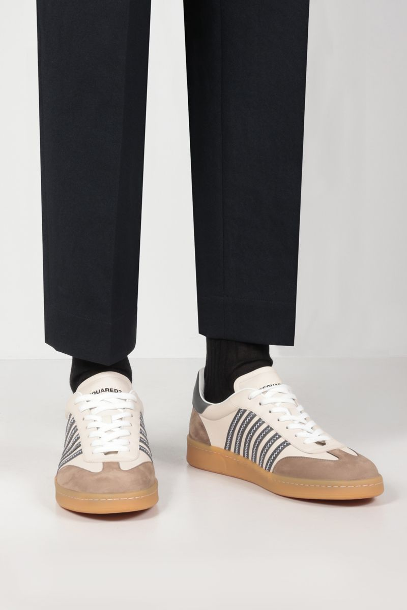 DSQUARED2: Boxer smooth leather and nabuk sneakers Color White_2