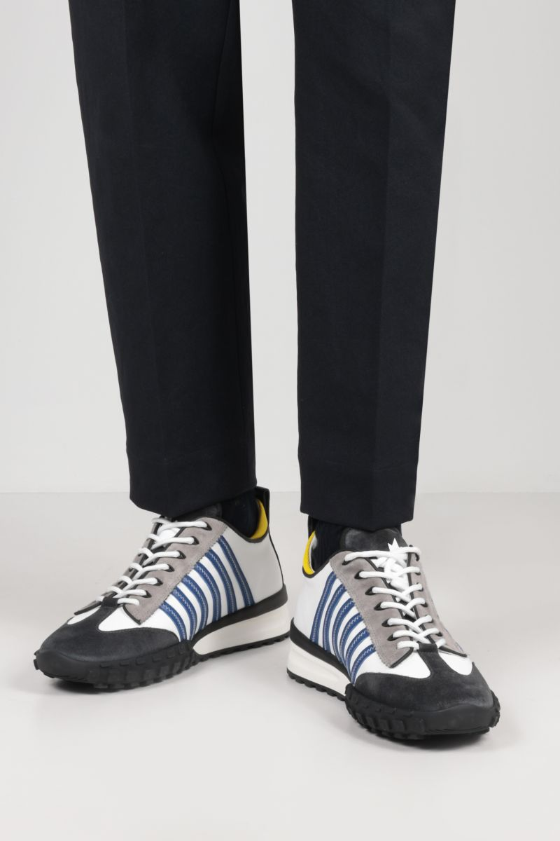 DSQUARED2: Legend smooth leather and suede sneakers Color White_2