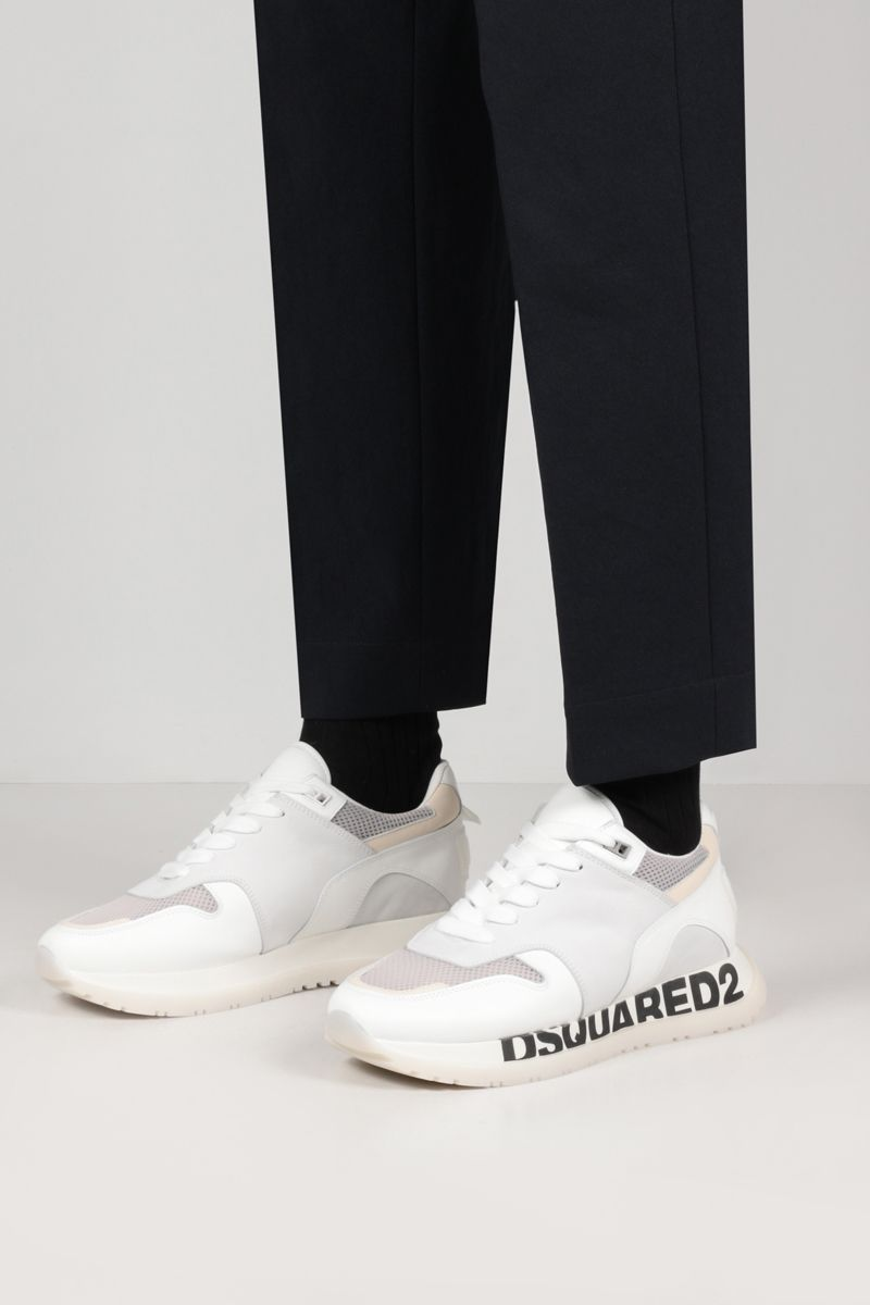 DSQUARED2: Running smooth leather, suede and mesh sneakers Color White_2