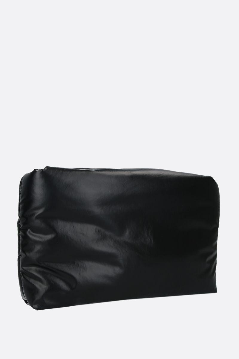 KASSL EDITIONS: clutch imbottita Oil Light in canvas resinato Colore Nero_2