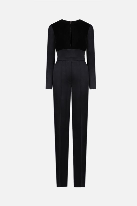 ELIE SAAB: velvet insert shiny crepe jumpsuit Color Black_1