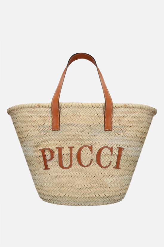 EMILIO PUCCI: logo-detailed straw basket bag Color Blue_1