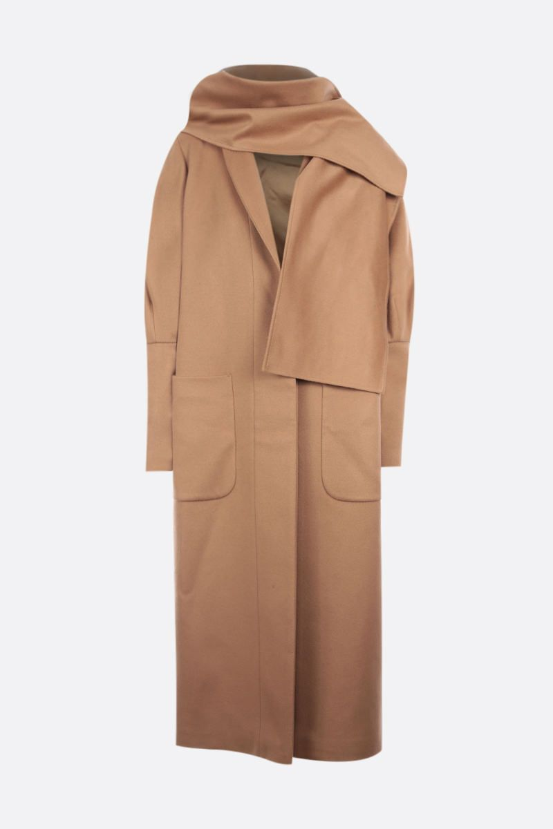 FEDERICA TOSI: single-breasted cashmere wool blend coat Color Brown_1